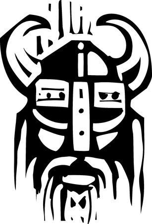 Woodcut expressionist image o a face of a viking warrior