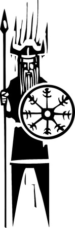 Woodcut expressionist viking holding a shield with mystic wheel on it. Illustration