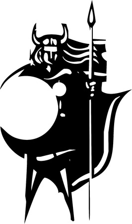 norse: Woodcut style image of a Norse Valkyrie with a spear and shield
