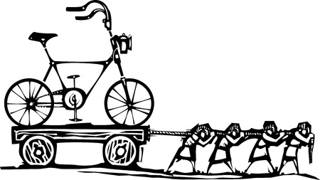 Woodcut style expressionist image of people hauling a hipster bike on a wagon