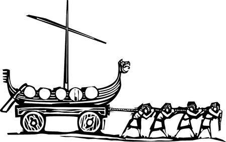 Woodcut style expressionist image of viking slaves hauling a ship on a wagon.