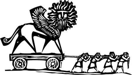 날개 달린 키메라 동상을 운반 노예의 목 판화 스타일 표현주의 이미지입니다.