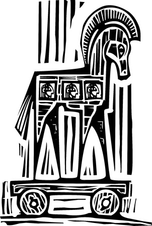 Woodcut style expressionist image of the Greek Trojan Horse