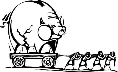 돼지 저금통을 드래그하는 사람들의 사람들의 woodcut 스타일 표현주의 이미지. 일러스트