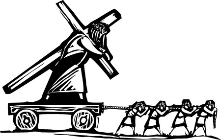 doctrine: Woodcut style expressionist image of people hauling Christ who is also carrying a cross. Illustration