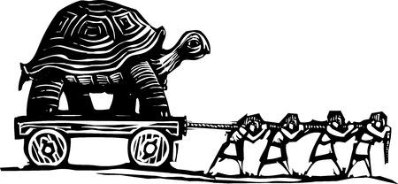 Woodcut 스타일 표현주의 이미지 왜건에 거북이 운반하는 사람들의 이미지.