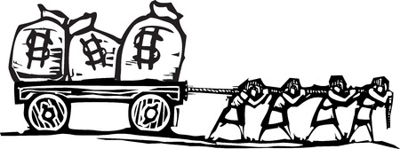 Houtdrukstijl expressionistische beeld van mensen slepen zakken geld op een wagen.