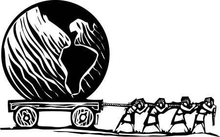 inequality: Woodcut style expressionist image of people hauling a Globe on a wagon.