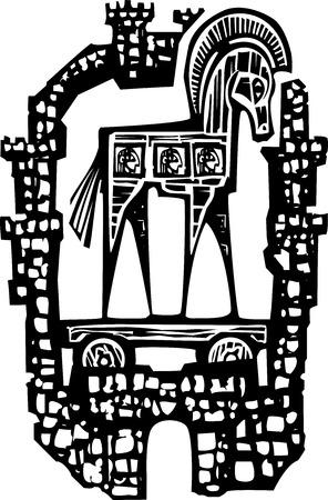 cavallo di troia: Immagine stile espressionista xilografia di greco cavallo di Troia all'interno delle mura della città di Troia.