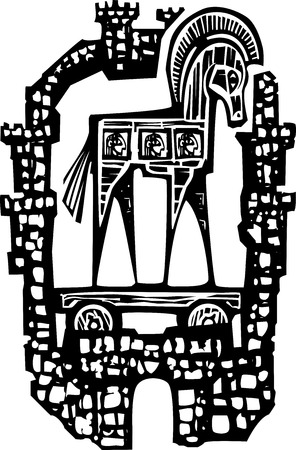 ruse: Woodcut style expressionist image of the Greek Trojan Horse inside the walls of the city of Troy.