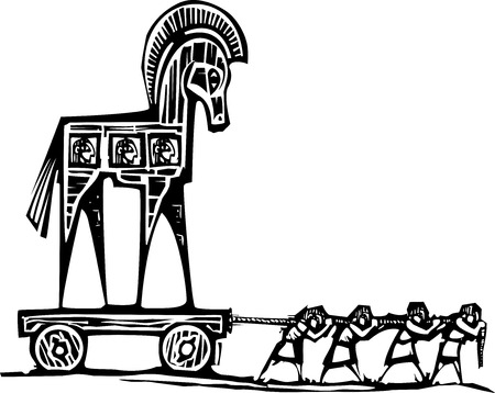 odyssey: Woodcut style expressionist image of the Greek Trojan Horse being dragged into Troy. Illustration