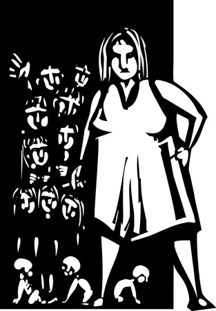 large woman: Woodcut style Large woman with cigarette at the door to a home with lots of children Illustration