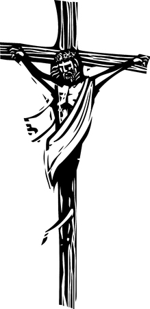 Woodcut style expressionist image of Jesus Christ on the cross with crown of thorns.