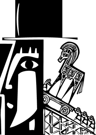 ruse: Woodcut style image of a Trojan Horse being loaded into a mans head