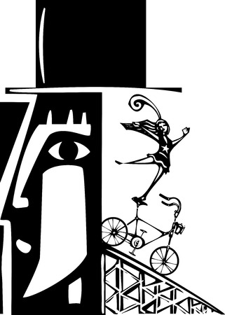Woodcut style image of a bicycle being ridden out of a mans head.