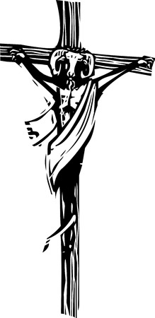 bÃĄla: Woodcut style image of a goat headed man on a crucifix