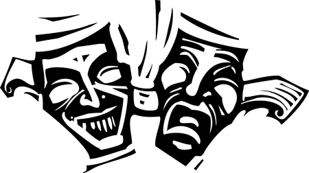janus: Woodcut style image of the laughing and crying theater image of Janus