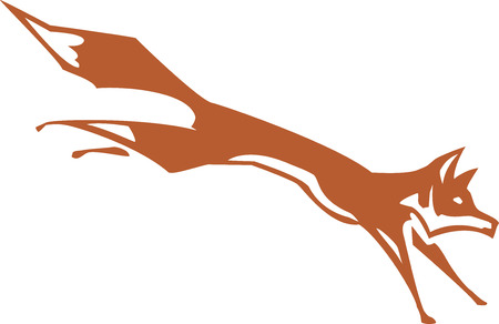 simplified: Woodcut simplified fox leaping to the right