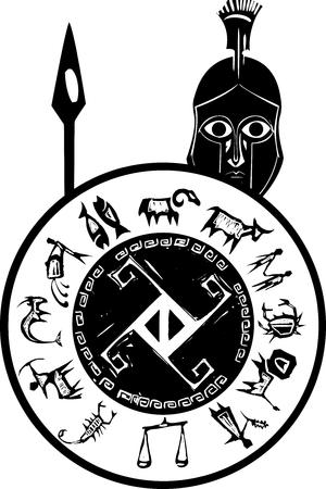 phalanx: Xilografia stile classico soldato greco spartano in un casco di bronzo con lancia e scudo