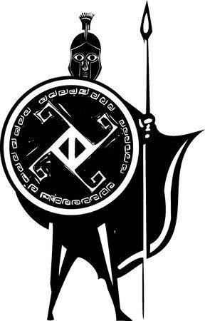 phalanx: Xilografia stile classico guerriero spartano greca con lancia e scudo