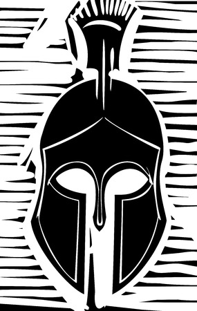 troy: Woodcut style classical Grecian soldiers helmet with crest
