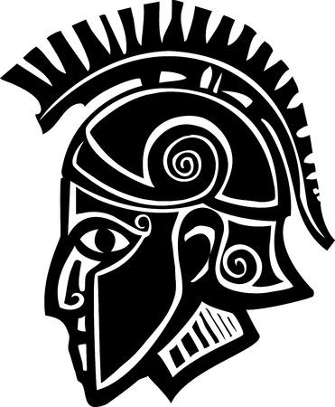 phalanx: Xilografia stile classico soldato greco spartano in un casco di bronzo Vettoriali