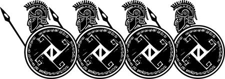 창과 방패와 지골의 판화 스타일의 고전적인 스파르타 그리스 군인