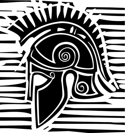 Woodcut style classical Grecian soldiers helmet with crest