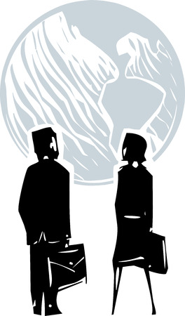 monopoly: Woodcut style expressionistic image of a business man and woman facing globe the earth