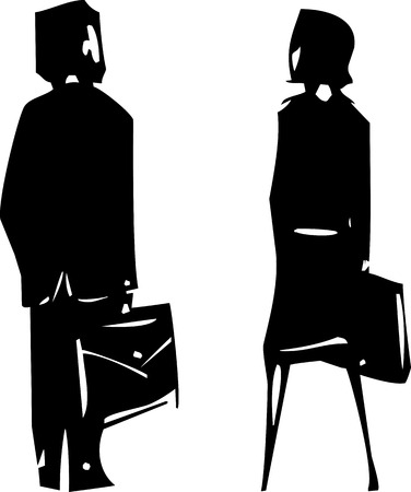 facing away: Woodcut expressionist style image of a a man and a woman in business suits facing away. Illustration