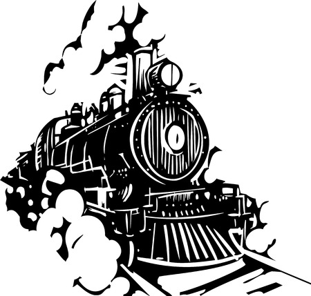 Woodcut style image of a railroad locomotive train coming towards the viewer. Illustration