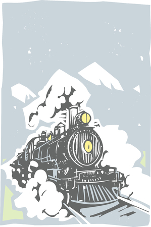 railroad: Woodcut style image of a railroad locomotive train coming towards the viewer. Illustration