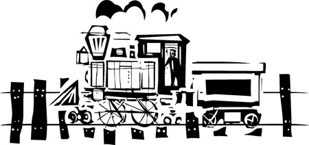 expressionist: Woodcut expressionist style image of a railroad locomotive train on tracks Illustration
