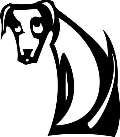 悲しい目をした白い猟犬のシンプルな画像  イラスト・ベクター素材