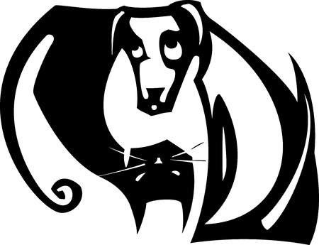 Simple yin yang balance image with a black cat and white dog