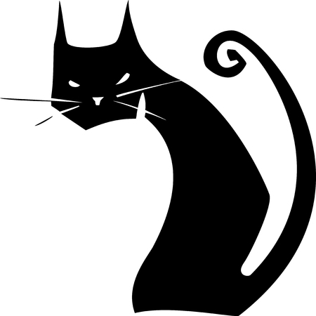 Simple image of a black cat with a curly tail Illustration
