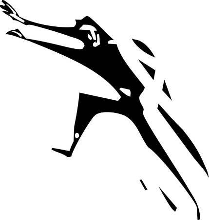 responsibilities: Woodcut styled image of a running man Illustration
