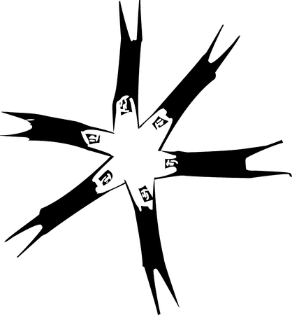Woodcut style image of group of people holding hands and spinning