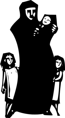 Simple expressionistic woodcut styled image of a mother in hijab hugging an infant with children.