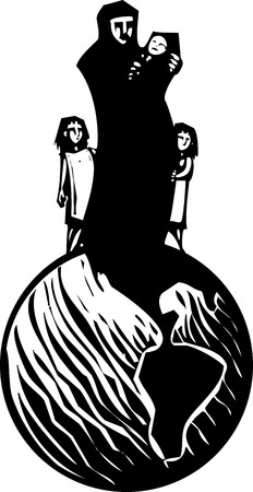 muslim baby: Simple expressionistic woodcut styled image of a mother in hijab hugging an infant with children standing on a globe.