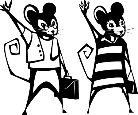 Mouse boy and girl holding briefcase and purse waving.