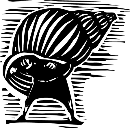 introvert: Woodcut style image of a man emerging from a snail shell