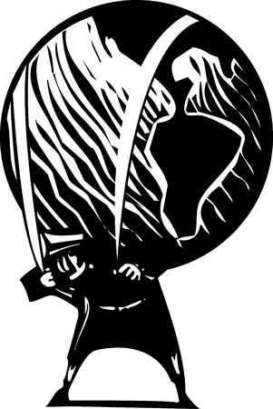 que: Woodcut style image of a man carrying the world on his shoulders. Illustration