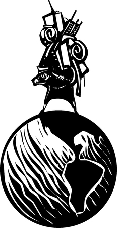 que: Woodcut style image of man carrying all his possessions on his back astride a globe