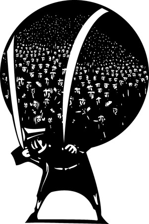 Woodcut style image of man carrying a globe filled with refugees and immigrants on his back. 矢量图像