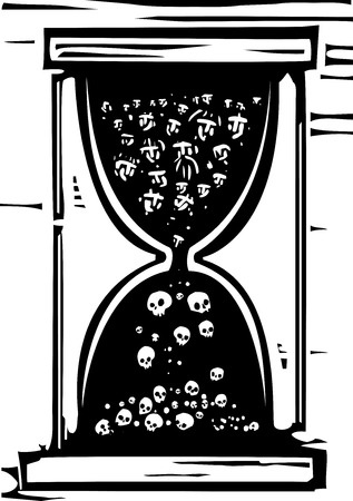 famine: Woodcut style image of an hour glass with people in it becoming skulls