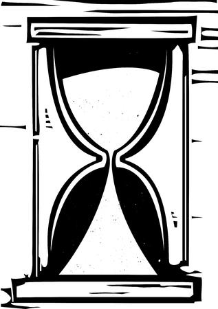 mortalidad: Imagen de estilo de grabado de un reloj de arena con la arena est� acabando.