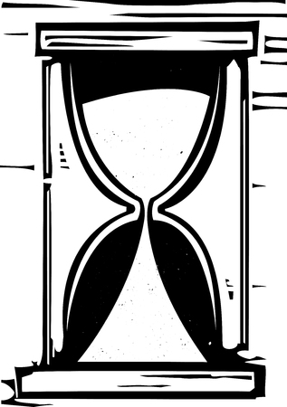 hour glass: Woodcut style image of an hour glass with the sand running out.