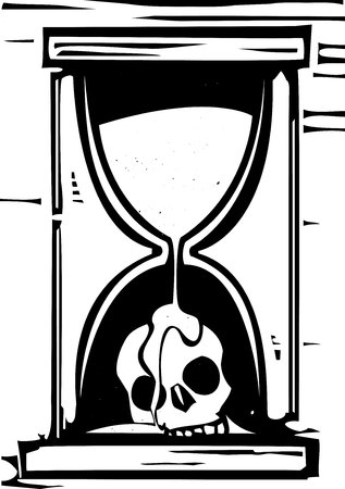 Woodcut style image of an hour glass with the sand running over a skull