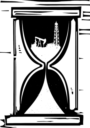 Woodcut style image of an hour glass with an oil rig and the sand of the time running out